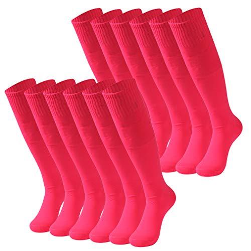 Football Socks Mens, RTZAT Unisex Women Soild Color Team Sports Soccer Socks 12 Pairs Pink -