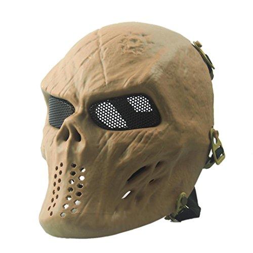 SMTSMT Full Face Skull Skeleton CS Mask Tactical Military Halloween-Khaki