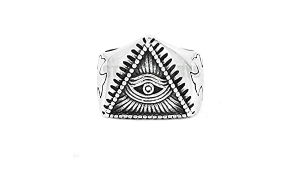 JEWURA Biker Ring Fashion Stainless Steel Jewelry Eye of Providence and Cross
