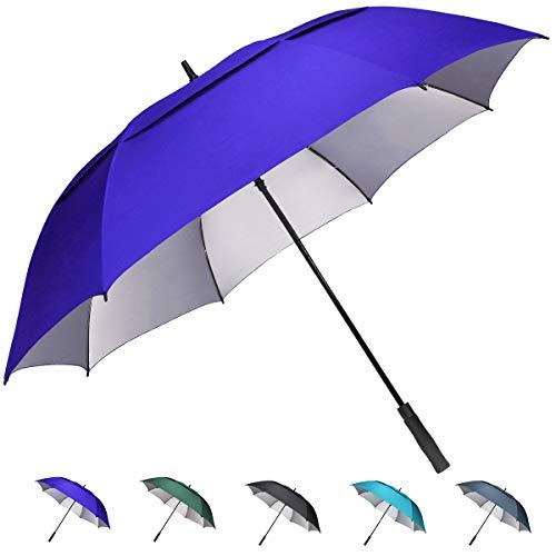 G4Free 62 inch Extra Large Windproof Golf Umbrella Automatic Open Umbrella Double Canopy Vented Anti UV Sun Protection Waterproof Oversize Stick Umbrellas for Men Women (Sapphire)