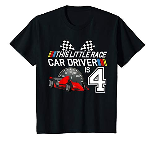 Kids 4 Year Old Race Car Birthday Shirt 4th Racing Party Gift Tee