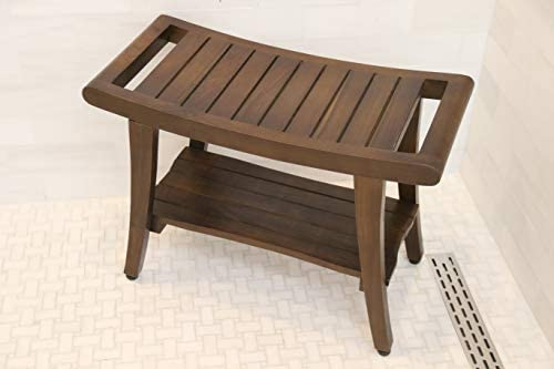 ALATEAK Shower Spa Bath Waterproof Stool Bench Dark Brown