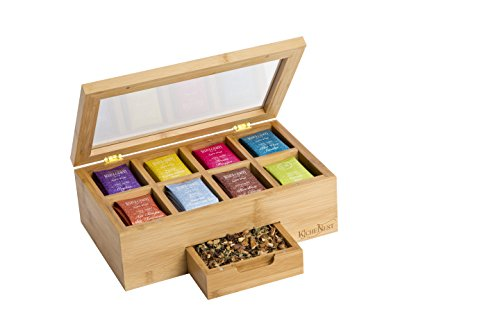 KicheNest Bamboo Tea Box Organizer Chest Caddy With 8 Compartments For Up To 140 Tea Bags  Elegant Wood, Magnetic Closure, Clear View Lid, Expandable Drawer  For Display, Tea Parties, Gifts & More