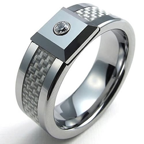 ANAZOZ Vintage Style 8MM Tungsten Carbide Silver Carbon Fiber CZ Wedding Engagement Bands Men