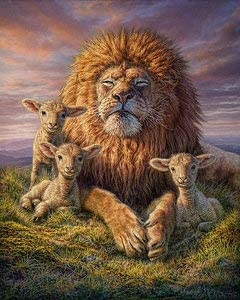 Full Drill LPRTALK 5D DIY Diamond Painting Scenery Full Round Drill Jesus and Lion Embroidery for Wall Decoration 12X16 inches Diamond Painting by Number Kit