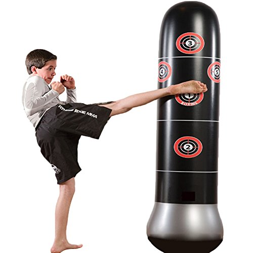 Fitness Punching Bag Heavy Punching Bag Inflatable Punching Tower Bag Freestanding Children Fitness Play Adults De-stress Boxing Target Bag Pump Air Tower