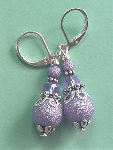 Lavender Textured Acrylic Pearls Crystal Earring Sp Lever Back Artisan Earrings For Women ()