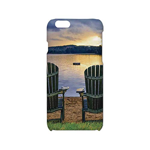 Seaside Decor Simple Phone Case,Two Wooden Chairs on Relaxing Lakeside at Sunset Algonquin Provincial Park Canada Compatible with iPhone 6/6s,iPhone 6,6s