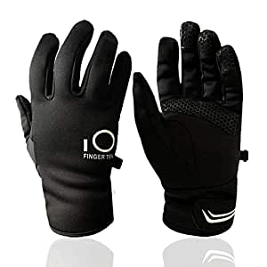 Winter Gloves Men Women Touchscreen Waterproof, Running Cycling Liner Fleece Pair (Small)