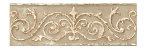 York Wallcoverings Small Treasures Architectural Scrollwork Prepasted Border, Sage Green/Tan/Brown/Cream (Gallery Wallpaper Border)
