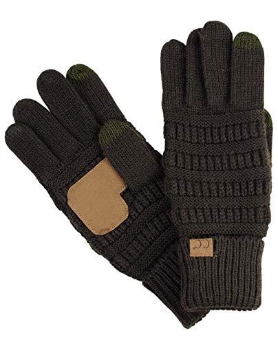 C.C Unisex Cable Knit Winter Warm Anti-Slip Touchscreen Texting Gloves, Brown (Brown Unisex Glove)