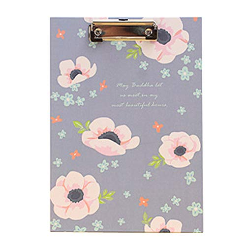 ANJUY A4 Size Clipboard Flower Pattern Clipboards Writing Board with Clip Low Profile Clip for School, Office, Work, Home, Restaurant,Pack of 3 by ANJUY
