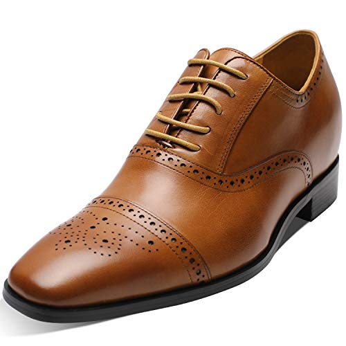 "CHAMARIPA K6531 Men's Height Increasing Elevator Dress Shoes Oxford 2.76"" Taller (11.5 D(M),Brown)"