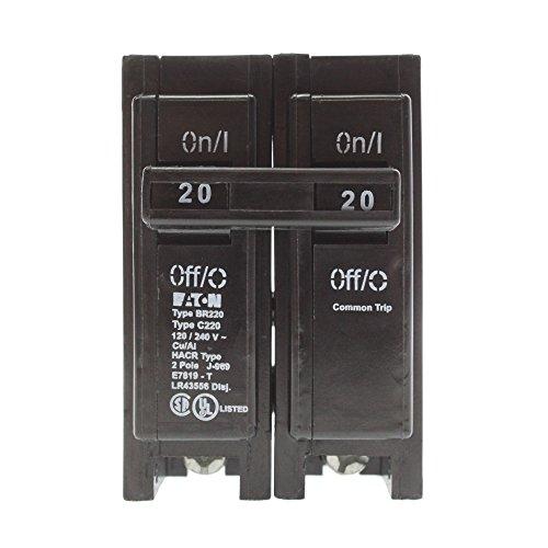 Cutler Hammer Eaton BR220 Plug-On Circuit Breaker, BR, 20-Amp, 2-Pole, 120-Volt (5 Pack)
