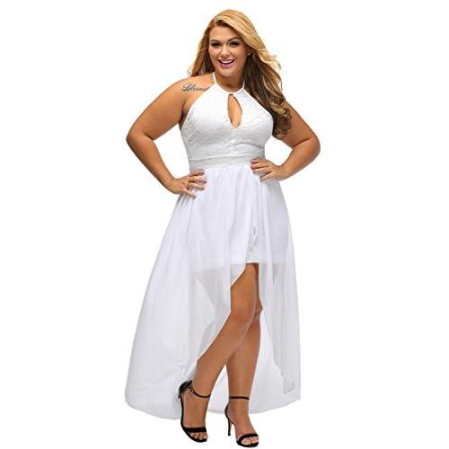 lovely Lalagen Women\'s Plus Size Halter White Lace Wedding ...