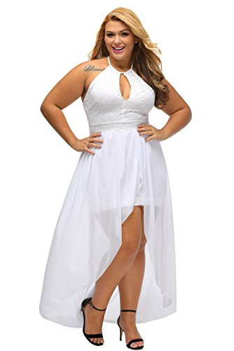 Lalagen Women's Plus Size Halter White Lace Wedding Party Dress Maxi Dress White XXXL