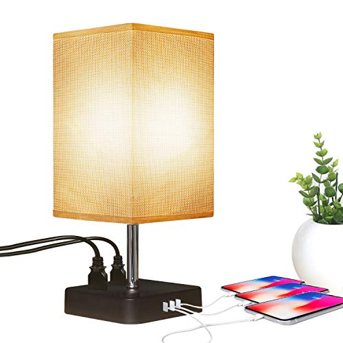 (Pocket Square Table Lamp Modern Elegant Table Lamp with USB and Socket Table Lamp Can be Used for Office, Learning, Reading Table Lamp)
