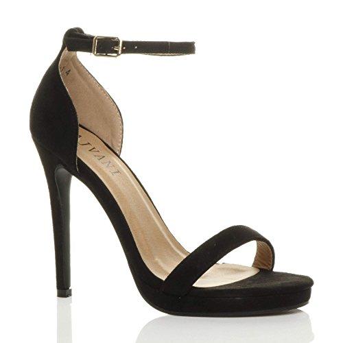 spillo alto cinturino tacco sandali Donna numero Camoscio con scarpe Nero plateau fibbia RxEq4w