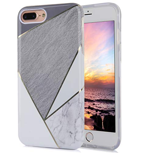 (iPhone 8 Plus iPhone 7 Plus Case Cute Golden Floral Grey White Marble Pattern Dual Layer Clear Soft TPU Hard PC Back Cover Shockproof Protective Fun Phone Cases for Women Girls Men Boys[5.5