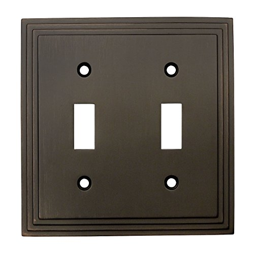 Cosmas 25033-ORB Oil Rubbed Bronze Double Toggle Switch Plate Switchplate Wall Cover (Bronze Venetian Switchplate)
