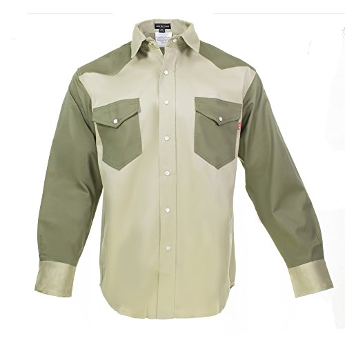 Just In Trend Flame Resistant FR Shirt - 88/12 - Western Style - Two Tone (3X-Large, Khaki/Army (Green Flames Snap)