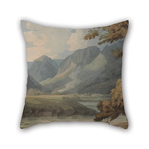 Oil Painting Francis Towne - View In Borrowdale Of Eagle Crag And Rosthwaite Pillow Covers 16 X 16 Inches / 40 By 40 Cm Gift Or Decor For Kitchen Kids Room Dance Room Seat Monther Boys - Double Si Francis Abstract Painting