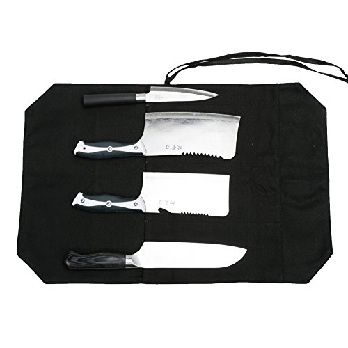 A Chef's Knife Roll Bag - Portable Travel Chef Knife Case Carrier Storage Bag with 4 Slots Best Gift For Pro Chef or Culinary Enthusiasts Men Women HGJ03-P Black by Hersent (Image #1)