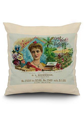 Key West Perfectos Brand Cigar Inner Box Label (20x20 Spun Polyester Pillow, White Border)