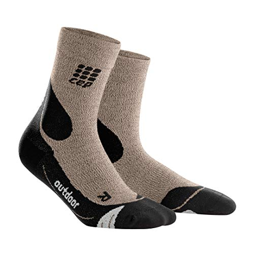 CEP - Men's Outdoor Compression Crew Cut Merino Socks (Sand Dune/Black) IV