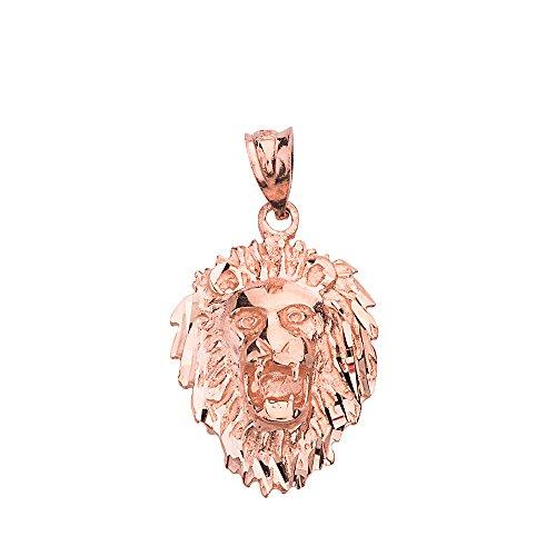(Leo Zodiac Sign Charm Roaring Lion Head Pendant (10k Rose-Gold))