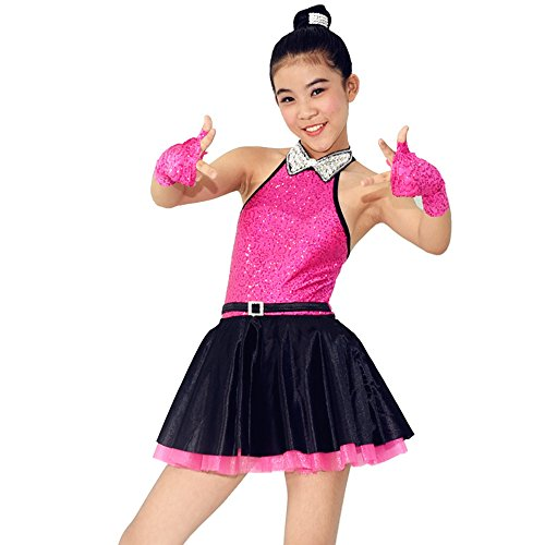 MiDee Rhinestone Peaked Collar Sequined Tank Top Tiered Dress Dance Costume (MA, Pink) (Flamenco Dance Costumes For Girls)