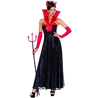 Amazon.com: Devil Hollywood Female (Black) Adult Halloween Costume ...
