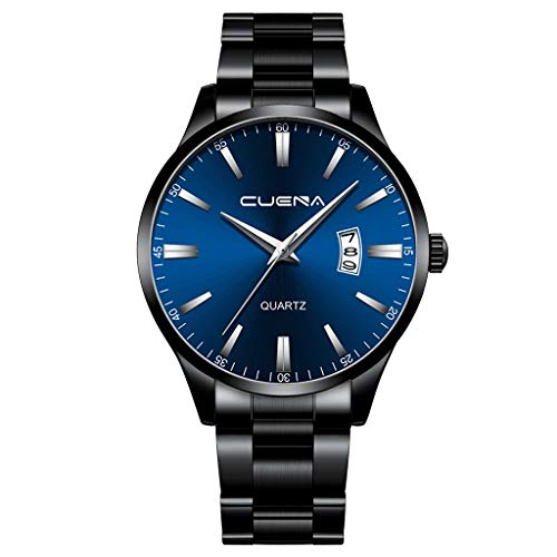 COOKI Men's Watch Fashion Business Wristwatch Analog Quartz Watch Dress Watch Digital Dial Quartz Mesh Band Watches for Men