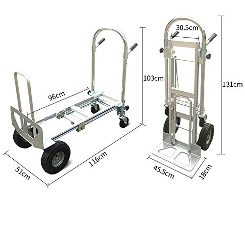 TFCFL 3 in 1 Aluminum Folding Hand Truck Convertible 350kg Capacity Industrial Cart Weight 18KG from TFCFL