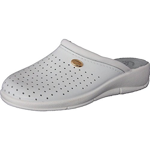 Women's Ladies Slip on Clogs,White, 100% Leather, Nurse, Garden, Hospital Shoes UK 4-8 NEW 400