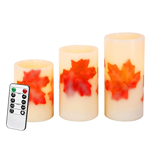 Flameless Candles with Remote Control&Timer Fall Maple Leaf Battery Operated Candles Flickering Candle Light Real Wax Pillar Led Candles Set of 3(3''Dx4'' 5'' 6''H)[No Included Battery] by PRIMROSE