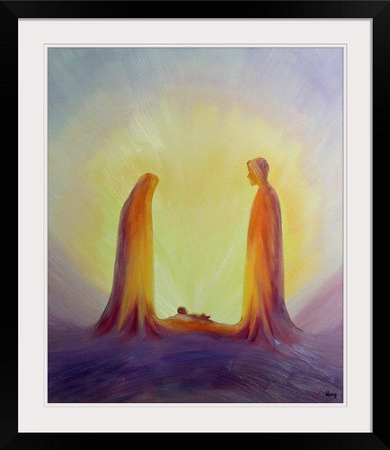 GreatBIGCanvas ''Mary and Joseph Look with Faith on The Child Jesus at His Nativity, 1995 (Oil on Panel)'' by Elizabeth Wang Photographic Print with black Frame, 25'' X 30'''' by greatBIGcanvas