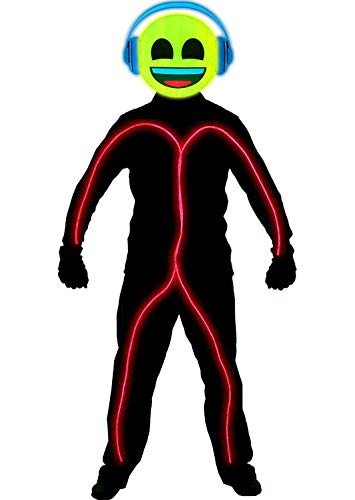 GlowCity Super Bright Light Up Headphones Emoji Stick Figure Costume for Parties Lighting & Mask Kit - Clothing Not Included - Red - Small 3-5 FT Tall ()
