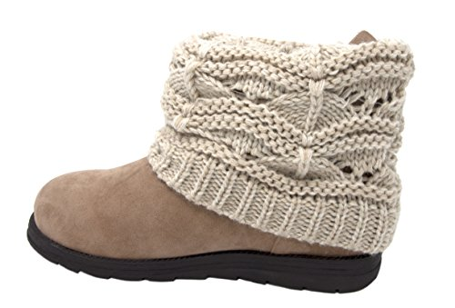 MUK LUKS Women's Patti Cable Cuff Boot (11 M US, Ivory/White) (Womens Size Sweater 11 Boots)
