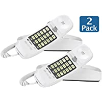 AT&T 89-0008-06 model AT&T 210M Trimline Corded Phone 93020, White, Table and Wall Mountable - Pack of 2