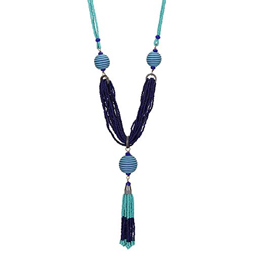El Allure Preciosa Jablonex Turqouise and Navy Blue Seed Bead Long Handmade Trendy Fashion Unique Fine Cotton Cord Wrapped Ball Tassel Necklace for Women. ()