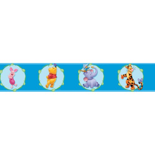 Blue Mountain Wallcoverings DS026251 Pooh Cameo Self-Stick Wall Border, 5-Inch by 15-Foot ()