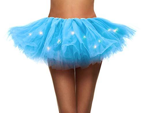 (Simplicity Women's LED Light Up Neon Tulle Tutu Skirt Running Tutu,Sky)