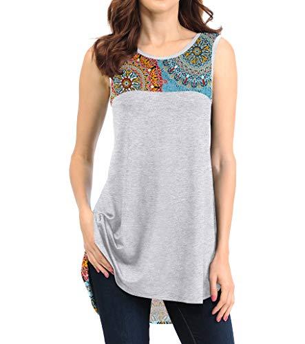 - VINTATRE Women's Summer Sleeveless Shirts Floral Print Casual Tank Tops FP Mix Blue-M