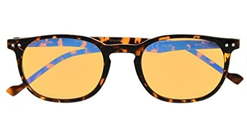 Reduce Eyestrain,Anti Blue Rays,UV Protection,Unisex Computer Reading Glasses(Tortoise,Amber Tinted Lenses) +0.5 -