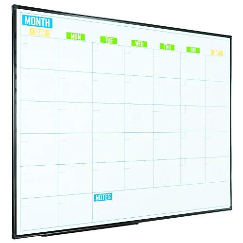 Lockways White Board Calendar - Colorful Magnetic Dry Erase Calendar Monthly 48 x 36, Framed 4 x 3 Planning Whiteboard, Ultra-Slim Black Aluminium Frame for School Home ()