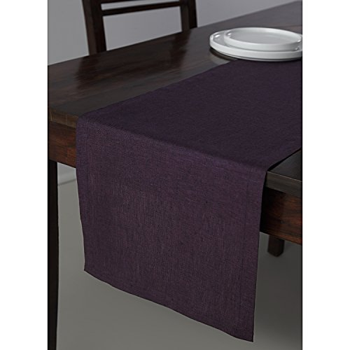 Solino Home 100% Pure Linen Table Runner Athena, Natural Fabric Handcrafted Runner, Purple 14 x 36 Inch by Solino Home