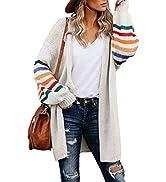 BLENCOT Women's Casual Striped Open Front Cardigans Color Block Knit Sweaters Loose Long Outwear ...