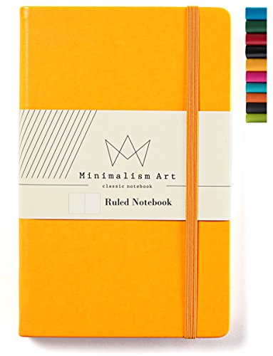 "Minimalism Art | Classic Notebook Journal, Size: 5"" X 8.3"", A5, Yellow, Ruled/Lined Page, 192 Pages, Hard Cover/Fine PU Leather, Inner Pocket, Quality Paper - 100gsm 