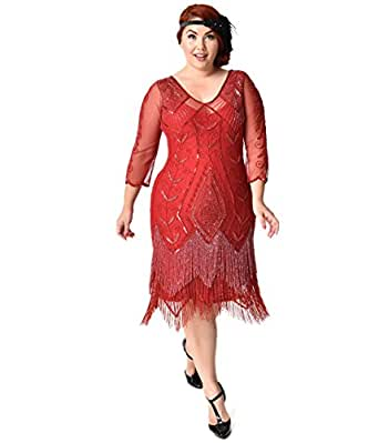 Plus Size 1920s Style Red Sleeved Beaded Scarlet Fringe